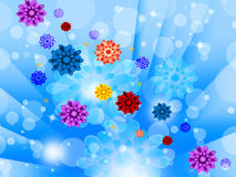 Blue Flowers Background Shows Glow Beams Bubbles And Pretty Stock Images