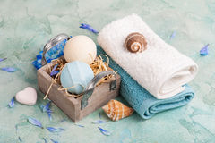 Blue flowers and bath bombs Stock Image
