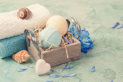 Blue flowers and bath bombs Stock Photography