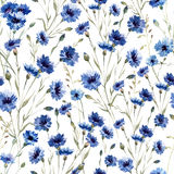 Blue flowers. Beautiful n pattern with blue flowers on white fon Royalty Free Stock Photo