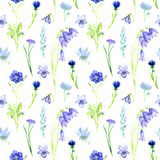 Blue flowers: bellflowers, violets, forget-me, cornflower. Blue flowers, seamless pattern design,  isolated hand painted watercolor illustration in soft style on Royalty Free Stock Photos