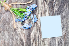Blue  flowers bouquet on the oak brown table with blue sheet of Royalty Free Stock Photo