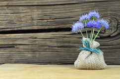 Blue flowers bouquet. A small blue flowers bouquet composition on wood Stock Image