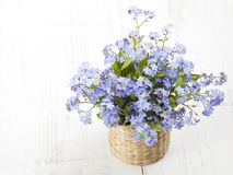 Blue flowers bouquet on white wooden background Royalty Free Stock Photos