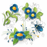 Blue flowers and bug Royalty Free Stock Image