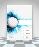 Blue flowers business flyer design Stock Photography