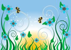 Blue flowers and butterflies.Background.Wallpaper. Stock Photography