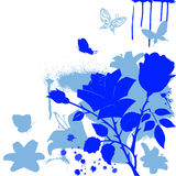 Blue flowers and butterfly Royalty Free Stock Photos