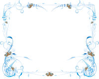Blue Flowers and Butterfly Frame Royalty Free Stock Photo