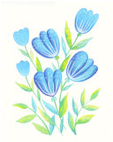 Blue flowers. Color illustration of flowers in watercolor paintings. Can be used as greeting card, invitation card for wedding, birthday and other holiday and Stock Illustration