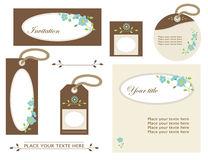 Blue flowers decoration. Set of elements of design with flowers Vector Illustration