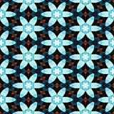 Blue flowers decorative tile on kaleidoscopic seamless pattern Royalty Free Stock Photography