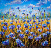 Blue flowers field oil painting. Stock Photo