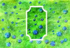 Blue flowers on the field. Watercolor illustration of blue flowers with vignette Stock Image