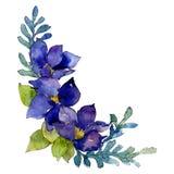 Blue flowers. Isolated flower illustration element. Background illustration set. Watercolour drawing aquarelle bouquet. Blue flowers. Floral botanical flower stock illustration