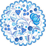 Blue flowers floral russian ornament frame. Vector illustration. Decorative composition. Royalty Free Stock Photography