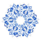 Blue flowers floral russian porcelain beautiful folk ornament. Royalty Free Stock Photography