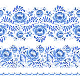 Blue flowers floral russian porcelain beautiful vector illustration