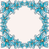 Blue flowers frame  on a beige background Stock Photography