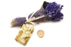 Blue flowers and gift. Bouquet of blue hyacinth, gift and candle stock images