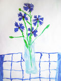 Blue flowers in a glass - painted by child Royalty Free Stock Image