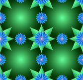 Blue flowers and green leaf seamless background Stock Images