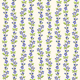 Blue flowers green leaves pattern repeat background. Stock Image