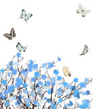 Blue flowers greeting card Royalty Free Stock Photography