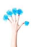 blue flowers hand nails woman Στοκ Εικόνες