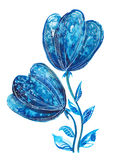 Blue flowers. Illustration of blue flowers in watercolor painting. Can be used as greeting card, invitation card for wedding, birthday and other holiday and Vector Illustration