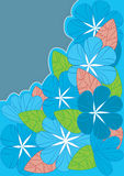Blue Flowers Lines Style_eps. Illustration of lines style blue flowers, red and green leaves on blue background. Corner composition Stock Images