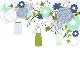 Blue Flowers and Mason Jars Stock Image