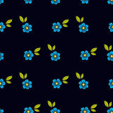 Blue flowers in the old style tattoo. Floral seamless pattern on a black background. Texture Royalty Free Stock Image