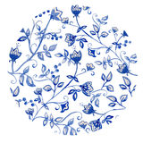 Blue flowers ornament Royalty Free Stock Images