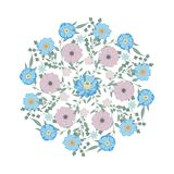 Blue flowers ornament. Delicate flower. Isolated wreath royalty free illustration