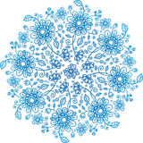 Blue flowers ornate vector background Royalty Free Stock Image