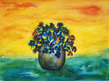 Blue flowers, painting Stock Photography