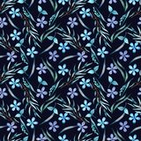 Blue flowers pattern stock illustration