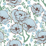 Blue flowers pattern Royalty Free Stock Image
