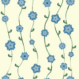 Blue flowers pattern with stalk and leaves Stock Photography