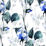 Blue flowers pattern vector illustration