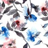 Blue flowers pattern royalty free illustration