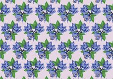 Blue flowers. Pink background pattern Stock Image