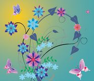 Blue flowers and pink butterflies Royalty Free Stock Image
