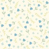 Blue flowers and plants seamless pattern. Vector EPS10 hand drawn seamless floral pattern Royalty Free Stock Photo