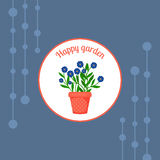 Blue flowers in a pot badge Royalty Free Stock Photo