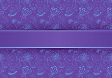 blue flowers on a purple background, Illustration Royalty Free Stock Image