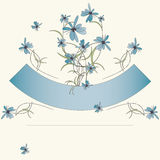 Blue flowers and ribbon invitation card Stock Image
