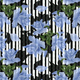 Blue flowers roses seamless pattern Royalty Free Stock Photos
