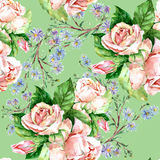 Blue flowers and roses , watercolor. Blue flowers and roses watercolor handmade pattern seamless green background stock illustration